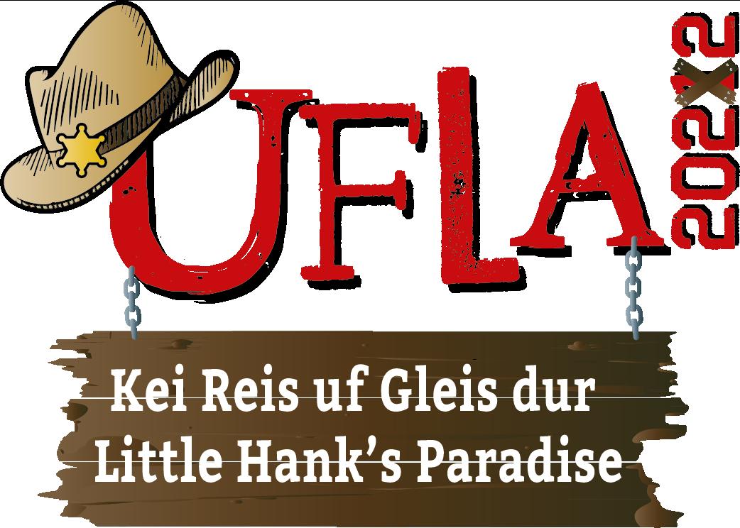 Das Logo des Auffahrtslagers mit dem Schriftzug «UFLA – Kei Reis uf Gleis nach Little Hank's Paradise»
